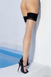 Sheer Backseam Thigh-high Stockings With Black Upper Detail and Suspenders