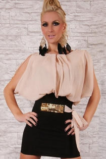 Sophisticated Bloomed Peach Top Round Neck Skimpy Tight Fitted Black Skirt Sparkling Accent