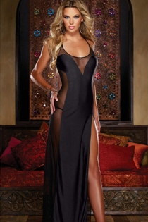 Black Satin Halter-Style Robe With Thigh-high Slit on the Left Side and Black Sheer Cut-out Accents