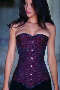 Elegant Royal Blue Corset With a Ruby Red Swirling Pattern and Glimmering Diamantes, Front Busk