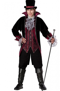 Hot Vampire Men Inspired Look Dark Soft Above Knee Longsleeve Blazer With Dark Red Underlayer and Sheer Ruffles Sequence
