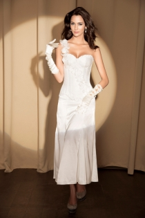 White Satin Gown Corset With Diagonal One-Shoulder Rose Sash, Ruched Trim and Underwired Cups