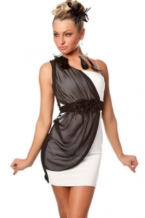 Color Block One-shoulder Mini Dress in Black and White With Draped Chiffon Fabric Under Ruffle Belt