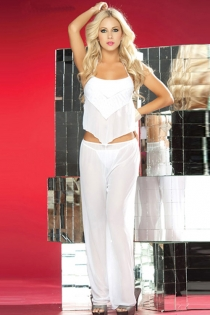 Sheer White Harem Set With Layered Open-Back Camisole and Elastic Waist Wide Pants