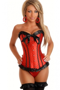 Playful Red Satin Corset With Black Polka Dots, Ruched Ribbon Trim and Center Bow, Front Busk
