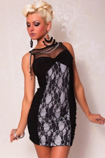 Black and White Ruched Bodycon Clubwear Mini Dress With Lace Detailing and Sheer Mesh Insert