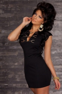 Black Bodycon Mini Dress With Cap Sleeves and Metalic Chains Decolletage Neckline