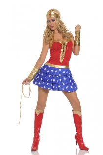 Gorgeous Wonder Woman Inspired Outfit Smooth Red Golden Pleated Criss Cross Edges Halter Top Attractive Ruffled Star Printed Mini Skirt