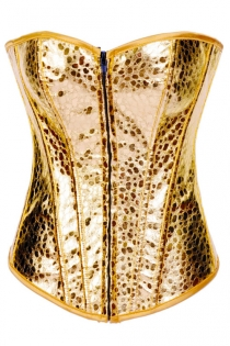 Disco Gold Corset With Textured Pattern and Mild Sweetheart Neckline, Front Zipper