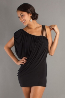 Little Black Dress With Short Dolman Sleeve and Multiple Spaghetti Strap Shoulder