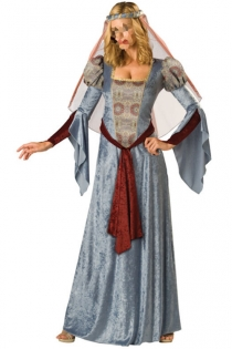 Interesting Temptress Light Satiny Blue Longsleeve Long Gown With Nice Printed Centerpiece and Glossy Dark Brownish Red Fabric Accent
