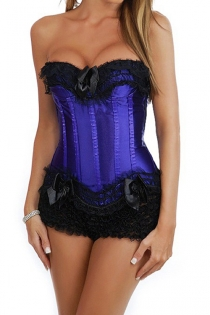 Indigo Satin Corset Set With Black Ruched Lace and Bows at Bust and Bottom