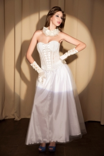 White Strapless Corset With Floral Inset Pattern and Lace Through Frontage