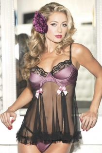 Black Sheer Babydoll With Pink Bust, Black Lace Trim, and Pink Satin Bow Accents