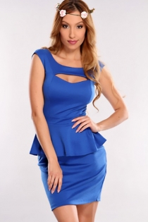 Solid Blue Sleeveless Mini Dress With Ruffled Waistline Trim and Cut-out Neckline