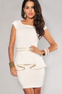 Solid White Cocktail Dress With Cap Sleeves, Ruffled Waist Trim, and Gold Accents