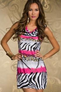 Sleeveless Mini Dress With Pink, White, and Black Zebra Print, and Black Accent Belt