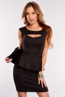 Solid Black Sleeveless Mini Dress With Ruffled Waistline Trim and Cut-out Neckline