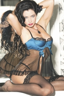 Black Sheer Babydoll With Blue Bust, Black Lace Trim, and Pink Satin Bow Accents