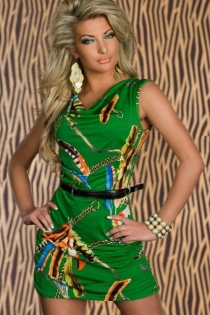 Green Sleeveless Mini Dress With Ruched Sides,feather Print, and Skinny Black Belt