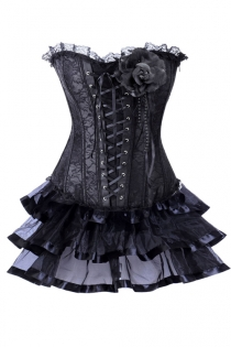 Black Net Overlay Mini Corset Dress With Large Corsage Detail
