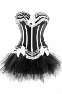 Black Sateen Strapless Corset Dress With White Frill Detailing and Tutu Net Mini Skirt