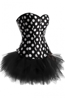 Black and White Dotty Strapless Corset Dress With Tutu Net Mini Skirt