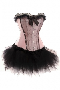 Sugar Pink Strapless Corset Dress With Black Overlay Panel and Tutu Net Mini Skirt
