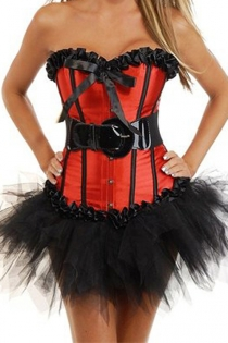 Red Sateen Strapless Corset Dress With Black Trim Detailing and Tutu Net Mini Skirt without Black PVC Belt
