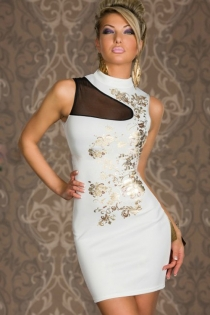 Sexy White Sleeveless, Mini Club Dress With High Neck and Golden Floral Print on One Side With Black Lace Inlay Patch Above Bodice