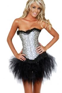 Silver Strapless Corset Dress With Black Inlay Pattern and Tutu Net Mini Skirt