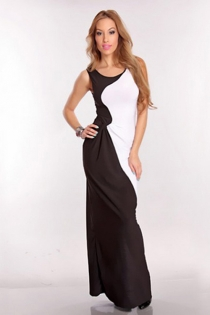 Black and White Sleeveless Two Tone Long Dress With Gathered Waist Line and Boat Neck