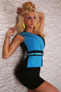 Sexy Black Sleeveless Mini Clubdress With Siane Blue Jacket Flap Style Overlay on One Side With O Ring Shoulder and Slim Blue Leather Belt