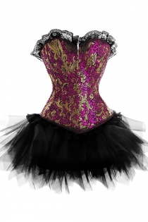Exquisite Strapless Corset Dress With Cerise and Gold Patterned Top and Tutu Net Mini Skirt