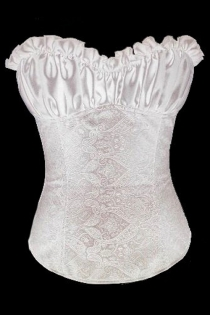 White Satin Bridal Corset With Satin Bodice and Embosed Floral Designed Body