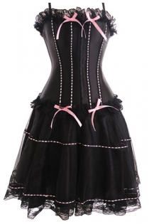 Black Corset Dress With Pink Thread Through Detailing and Flow Net Skirt