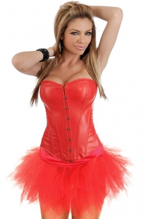 Red Faux Leather Strapless Corset Dress With Pointed Waist and Tutu Net Mini Skirt