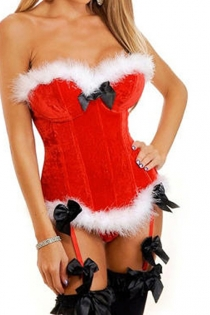 Red Christmas Corset With White Fur Trim, Black Satin Bow on the Bust, and Attached Garters With Black Bow Accents
