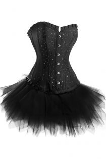 Strapless Corset Dress in Black With Diamante Studding and Tutu Net Mini Skirt