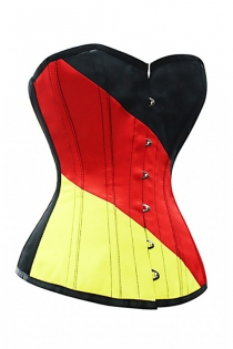 3 Tones Leather Structured Overbust Corset With Black, Red and Yellow Panels