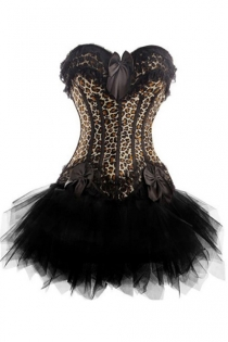 Animal Print Strapless Corset Dress With Bow Detailing and Tutu Net Mini Skirt