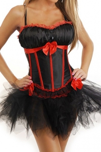 Black Sateen Bust Gather Corset Dress With Red Trim Detailing and Tutu Net Mini Skirt