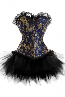 Exquisite Strapless Corset Dress With Blue and Gold Patterned Top and Tutu Net Mini Skirt