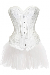 Dainty White Strapless Corset Dress With Petite Gather Trim and Tutu Net Mini Skirt