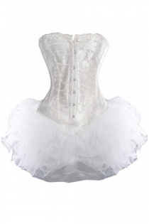 White Sateen Strapless Corset Dress With Full Tutu Net Mini Skirt