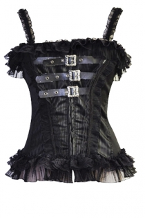 Black Striped Ovebust Corset With Front Leather and Steel Buckle Detailing and Ruffles