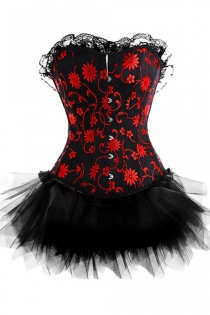 Strapless Black Corset Dress With Red Embroidery Detail and Tutu Net Mini Skirt