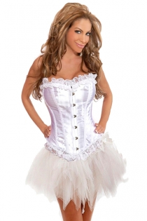 White Sateen Strapless Corset Dress With Gather Trim and Tutu Net Mini Skirt