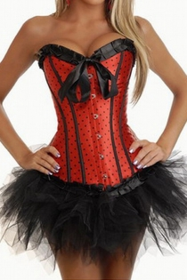 Red Polka Dot Strapless Corset Dress With Tutu Net Mini Skirt