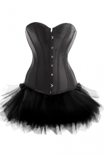 Strapless Mini Corset Dress in Black With Tutu Net Mini Skirt